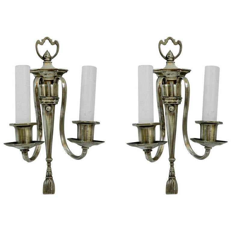 Pair of Two Arm Silver Sconces, circa 1920s