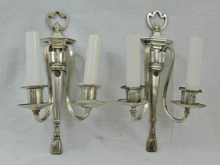 Pair of Two Arm Silver Sconces, circa 1920s For Sale 5