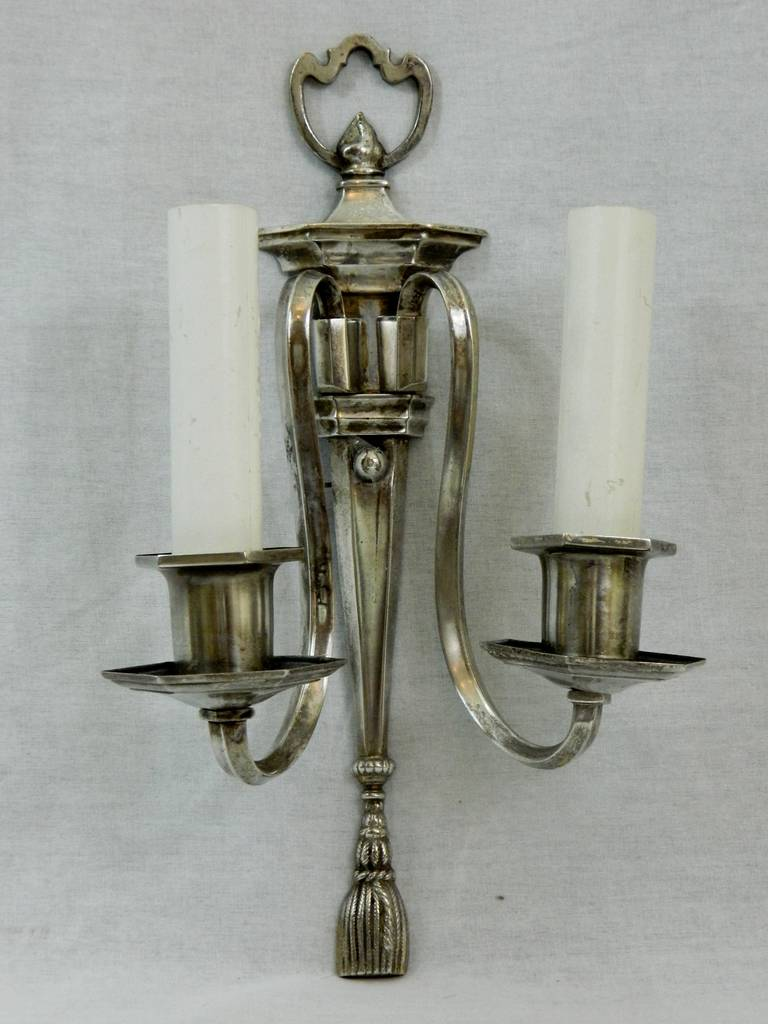 Circa 1920s Pair of Two Arm Silver Sconces.  US Wired