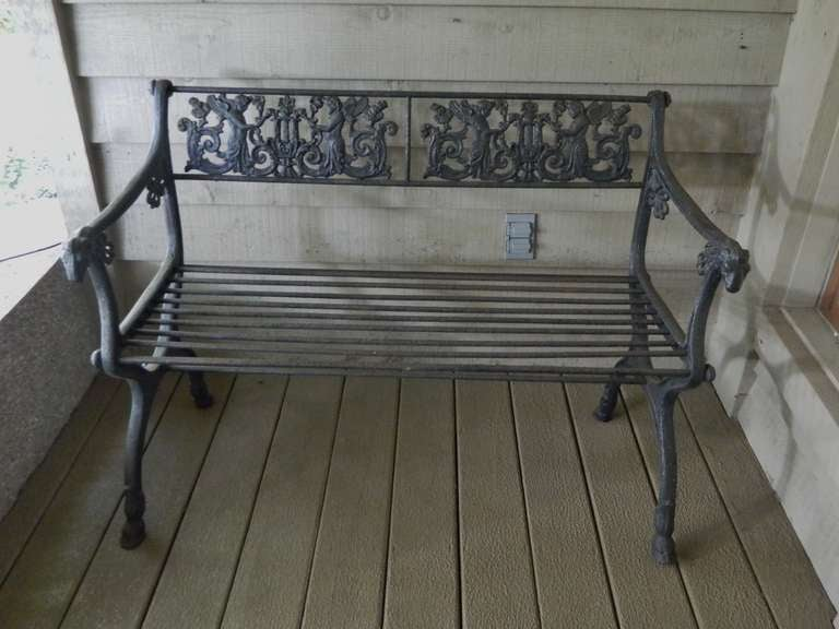 19th Century French Iron Directoire Garden Bench with a