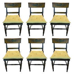 19th Century English Set of Six Black Ebonized and Hand-Painted Chairs