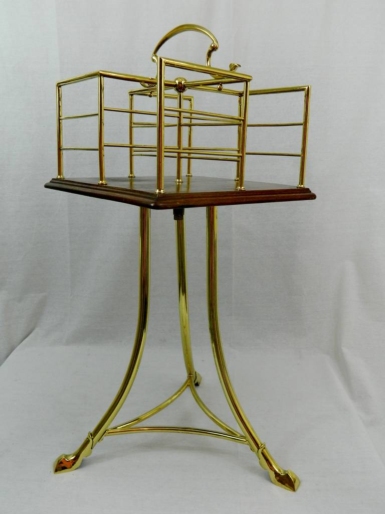 19th Century English Revolving Mahogany and Brass Book Stand or Side Table In Excellent Condition For Sale In Savannah, GA