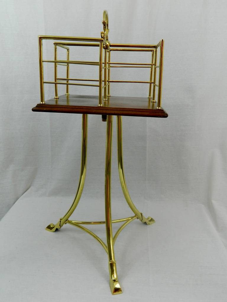 19th Century English Revolving Mahogany and Brass Book Stand or Side Table For Sale 1