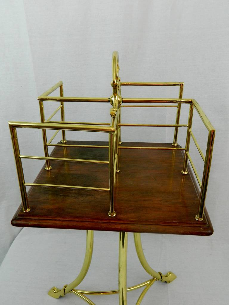 19th Century English Revolving Mahogany and Brass Book Stand or Side Table For Sale 2