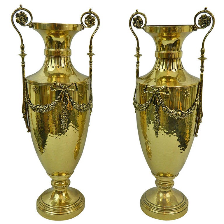19th Century Pair of Polished Brass Decorative Urns or Vases with Handles