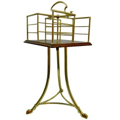 19th Century English Revolving Mahogany and Brass Book Stand or Side Table