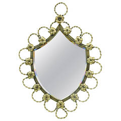 Polished Brass Shield-Shaped Mirror, 19th Century