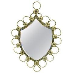 Polished Brass Shield-Shaped Mirror, 19th Century