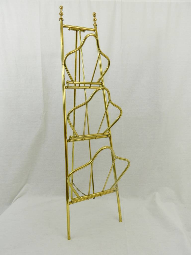 19th Century French Polished Brass Rack.  It could be used for magazines or for hand towels.  Two available