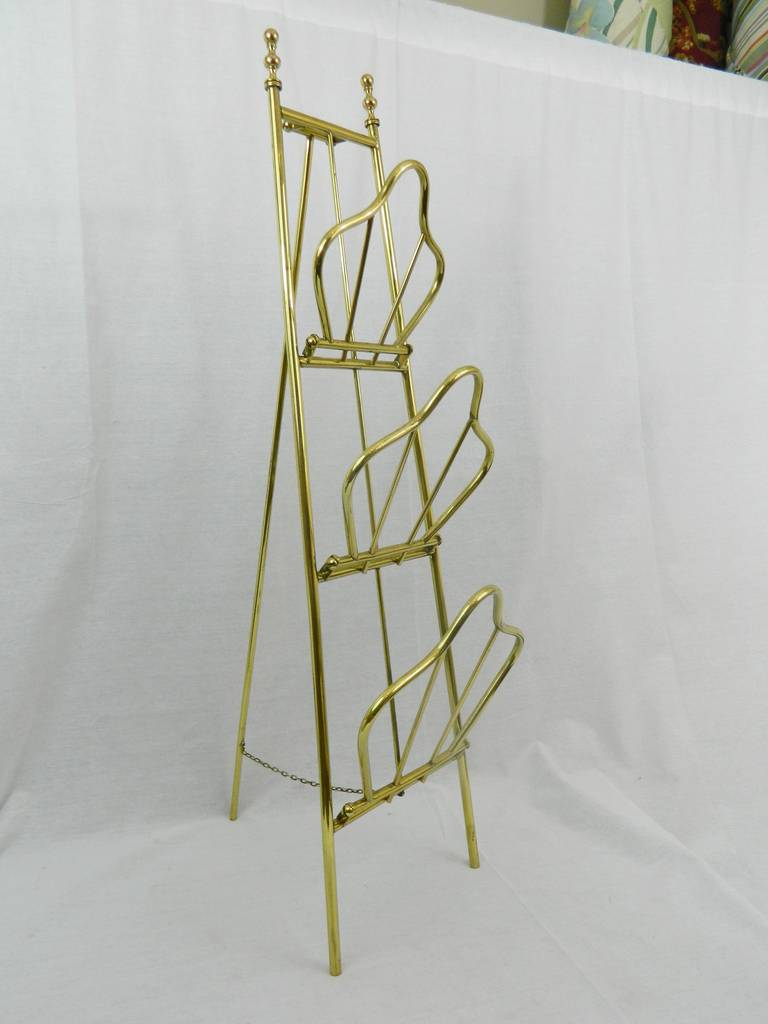 19th Century French Polished Brass Magazine Stand For Sale 1