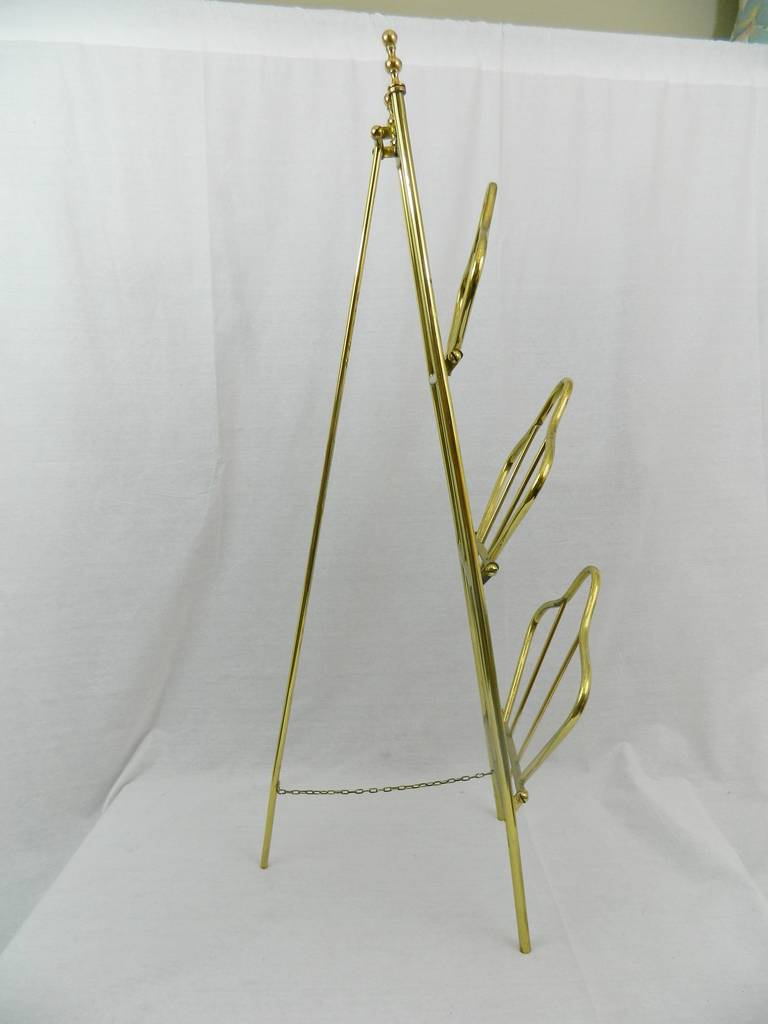 19th Century French Polished Brass Magazine Stand For Sale 2