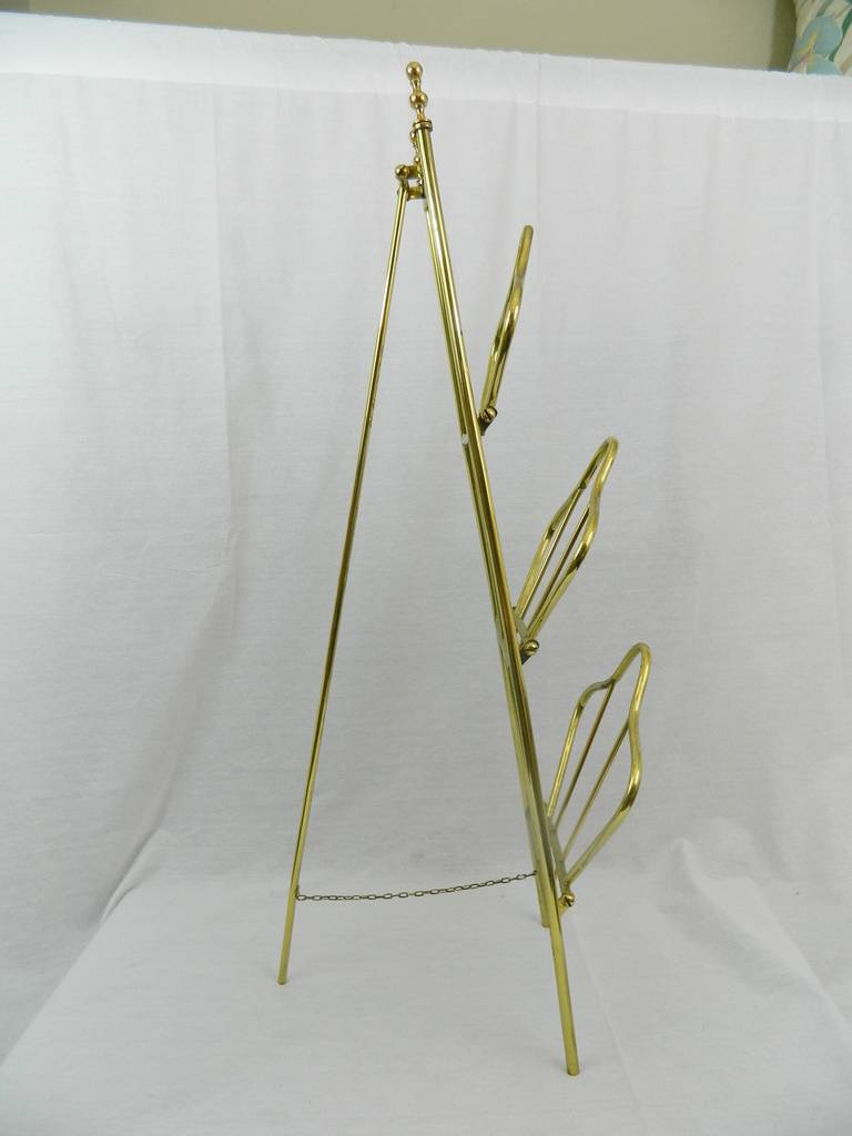 19th Century French Polished Brass Magazine Stand For Sale 3
