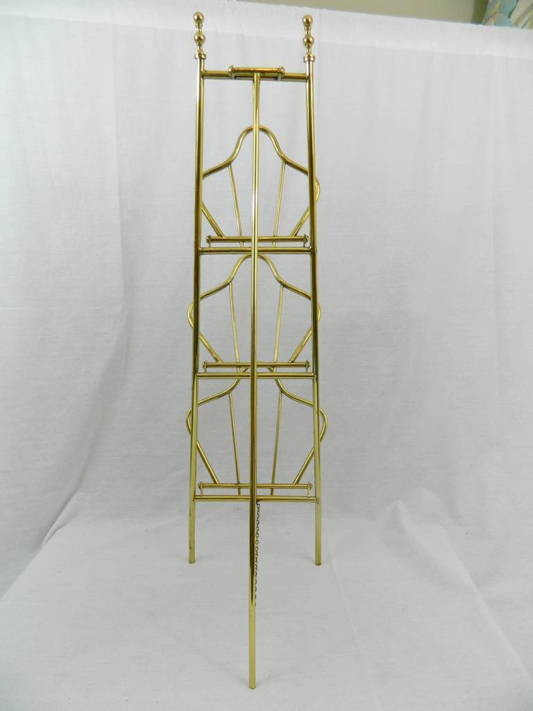 19th Century French Polished Brass Magazine Stand For Sale 4