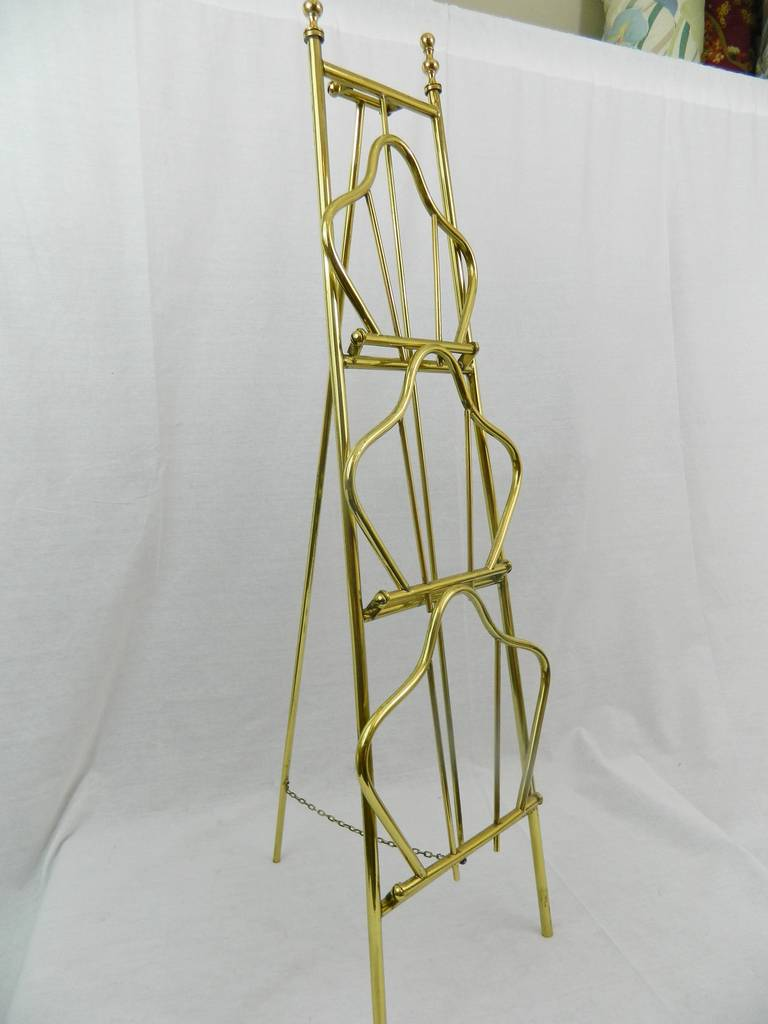 19th Century French Polished Brass Magazine Stand For Sale 5