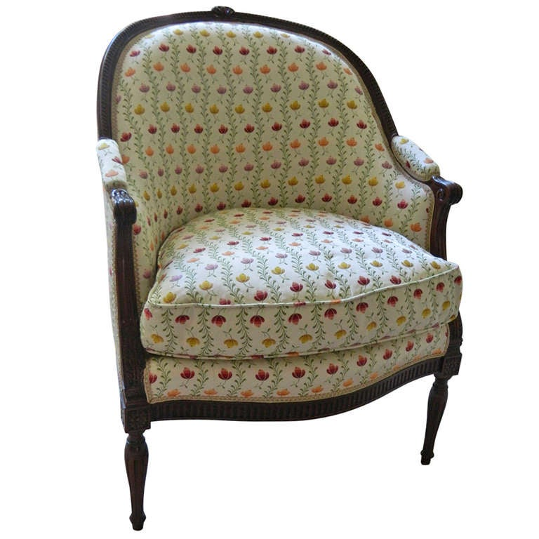 19th Century French Oak Neoclassical Style Tub Chair or Bergere