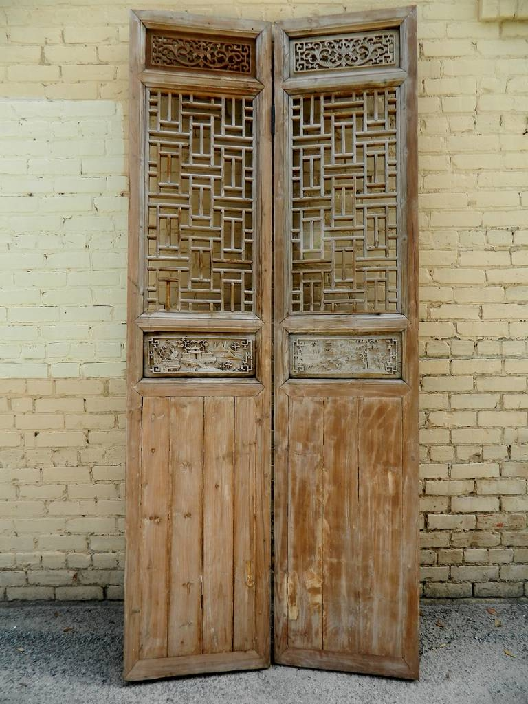 19th century large Chinese four-panel wooden lattice door or screen. Each inidual panel & 19th Century Large Chinese Four-Panel Wooden Lattice Door or Screen ...