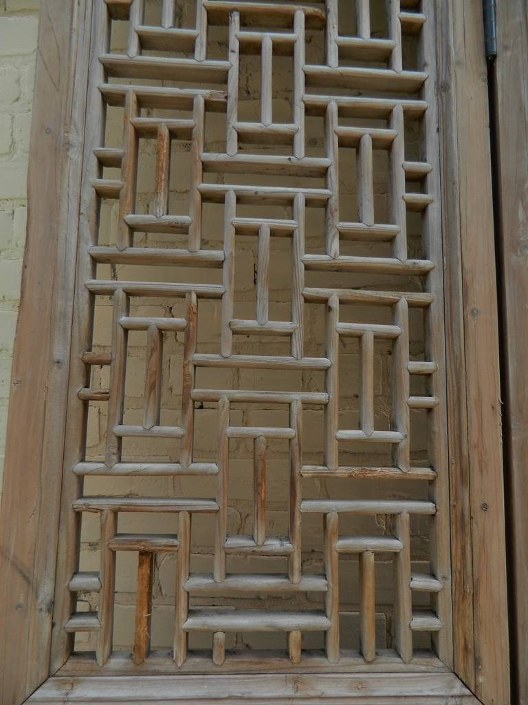 Th century large chinese four panel wooden lattice door
