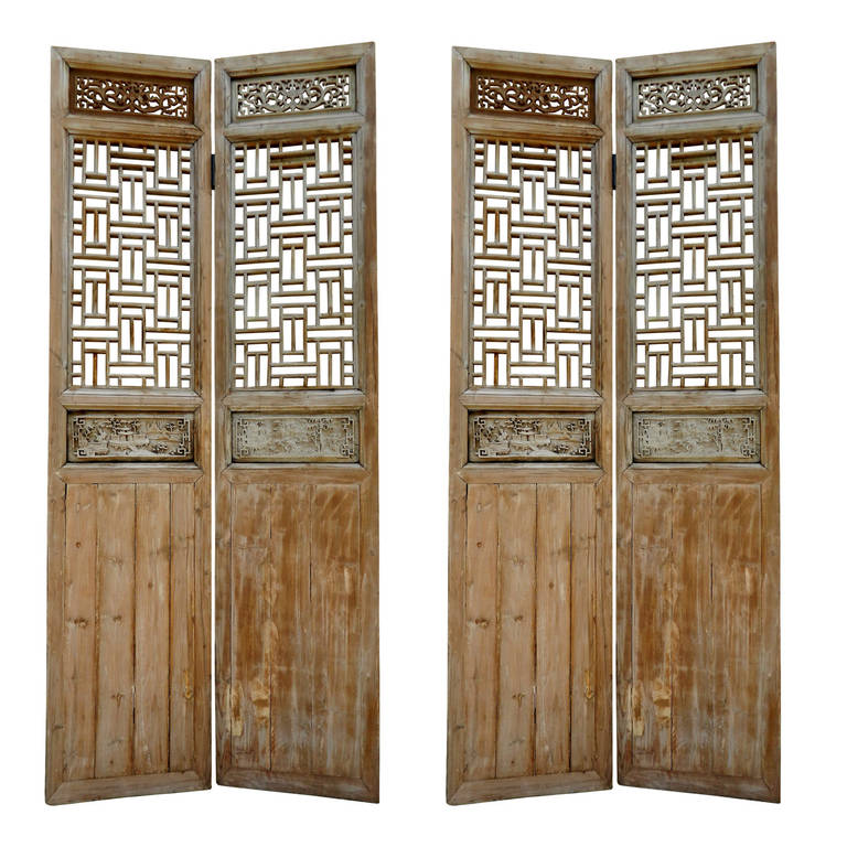 19th Century Large Chinese Four Panel Wooden Lattice Door Or Screen For Sale