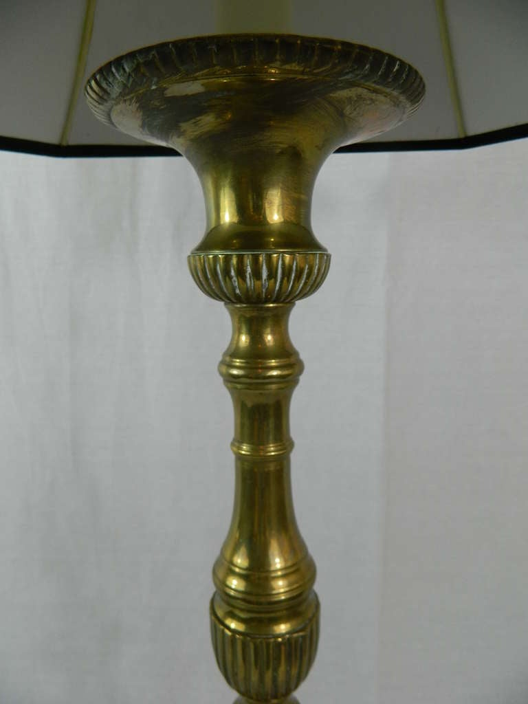 Pair Of 19th Century Brass Extra Tall Candlestick Lamps At