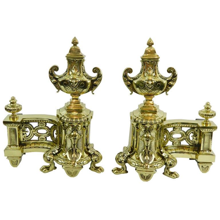 19th Century Pair of Brass Chenets or Andirons with Urn Decorations For Sale