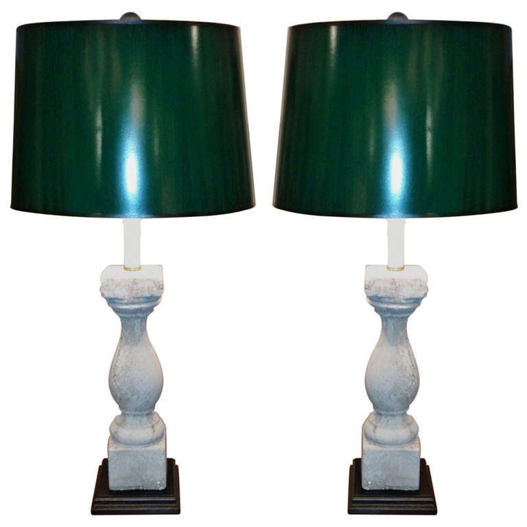 Pair of 19th Century Cement Balustrades Adapted as Lamps