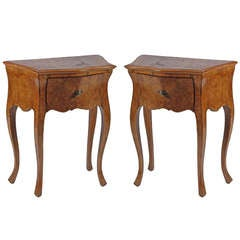 19th Century Pair of Italian Rococo Style Commodini or Side Tables