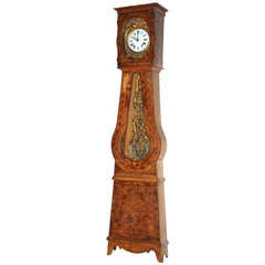 French Provincial Walnut Tall Case Clock, 19th Century