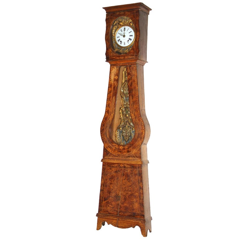 French Provincial Walnut Tall Case Clock, 19th Century For Sale