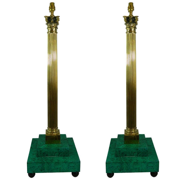 19th Century Pair of Brass Column Lamps with Faux Malakite Bases