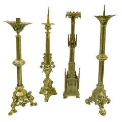 19th Century Polished Brass Decorative Prickets or Candlesticks