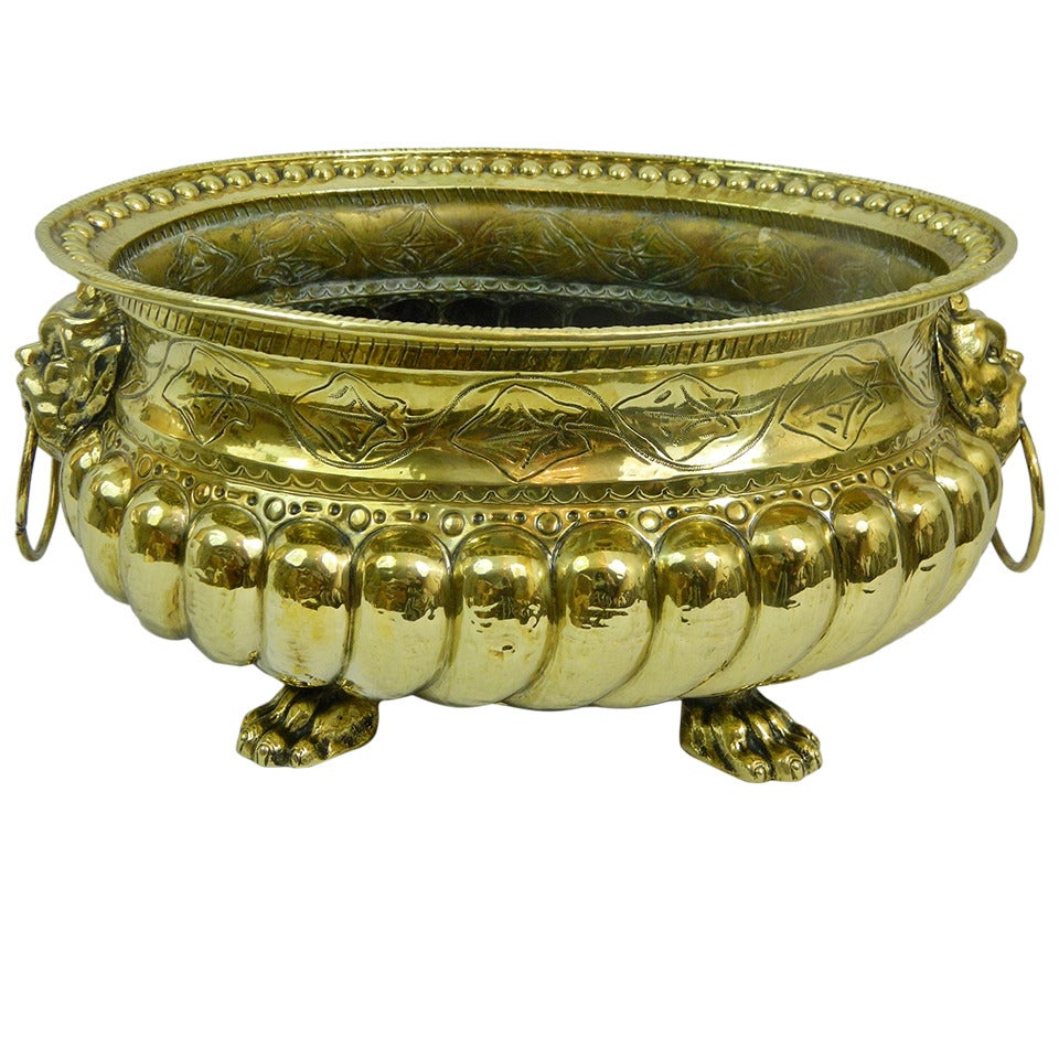 19th Century Polished Brass Large Jardiniere or Planter with Cast Feet