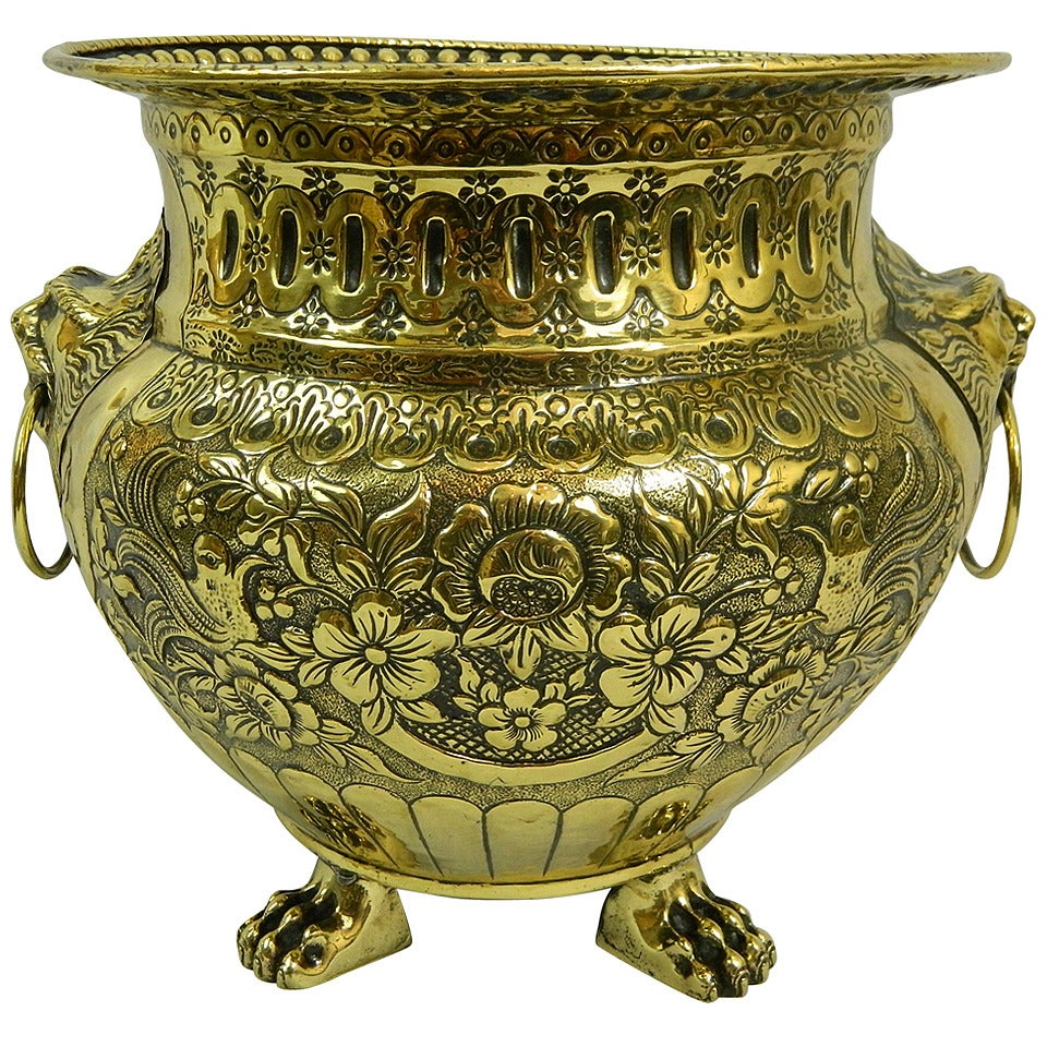19th Century Polished Brass Large Jardiniere or Planter with Original Liner