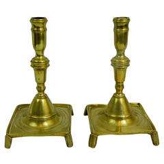 18th Century Pair of French Brass Candlesticks with Square Bases