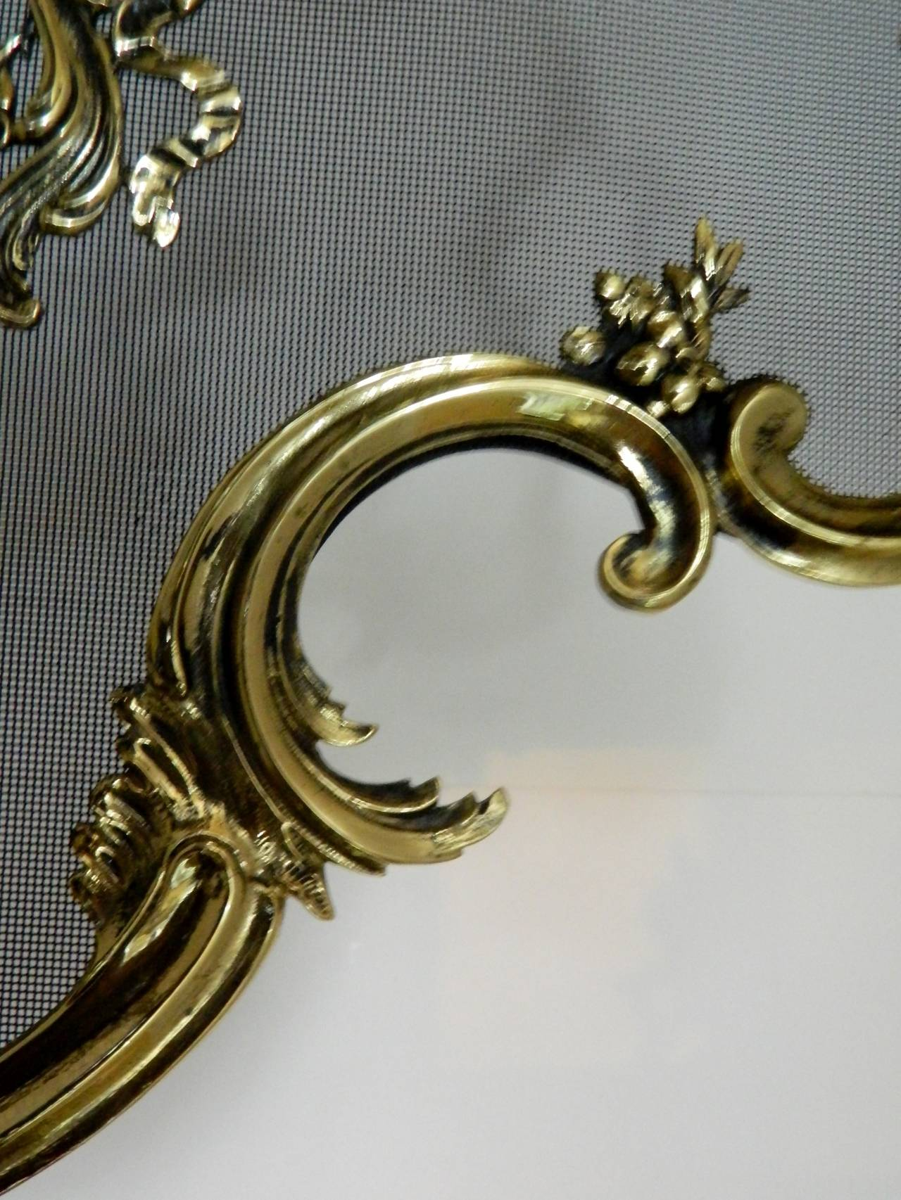French Brass Fire Screen Adorned With A Fire Cheriot 19th