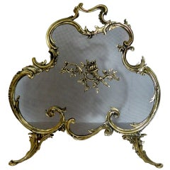 French Brass Fire Screen Adorned with a Fire Cheriot, 19th Century