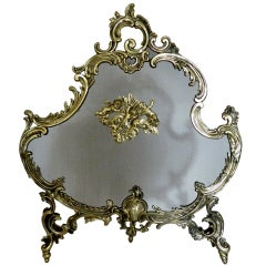 French Fire Screen Adorned with Cherubs, 19th Century