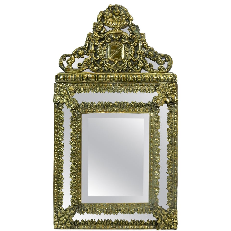 19th Century French Brass Small Pillow Mirror