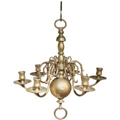 Early 19th Century Dutch Style Brass Six Light Pegged Chandelier