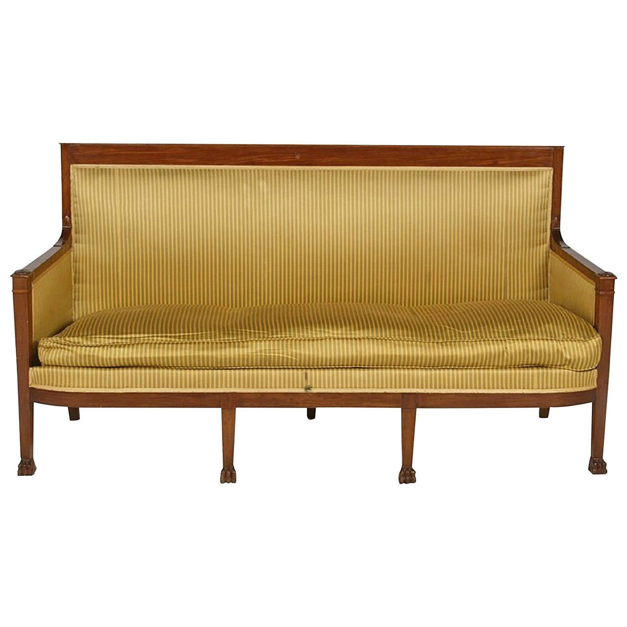 Directoire Style Upholstered Sofa With Claw Feet 19th Century For Sale At 1stdibs