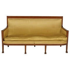 Directoire Style Upholstered Sofa with Claw Feet, 19th Century