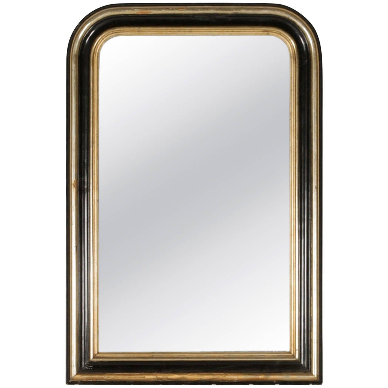 Ebonized and silver gilt louis philippe mirror with molded for Silver long mirror