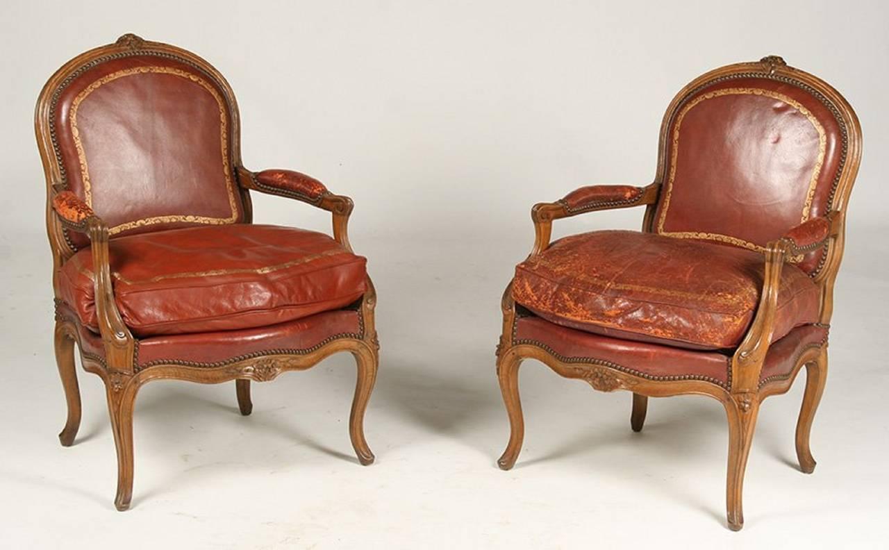 Pair Of Louis XV Style Walnut Arm Chairs By Gouffe Paris, Circa 1940 2