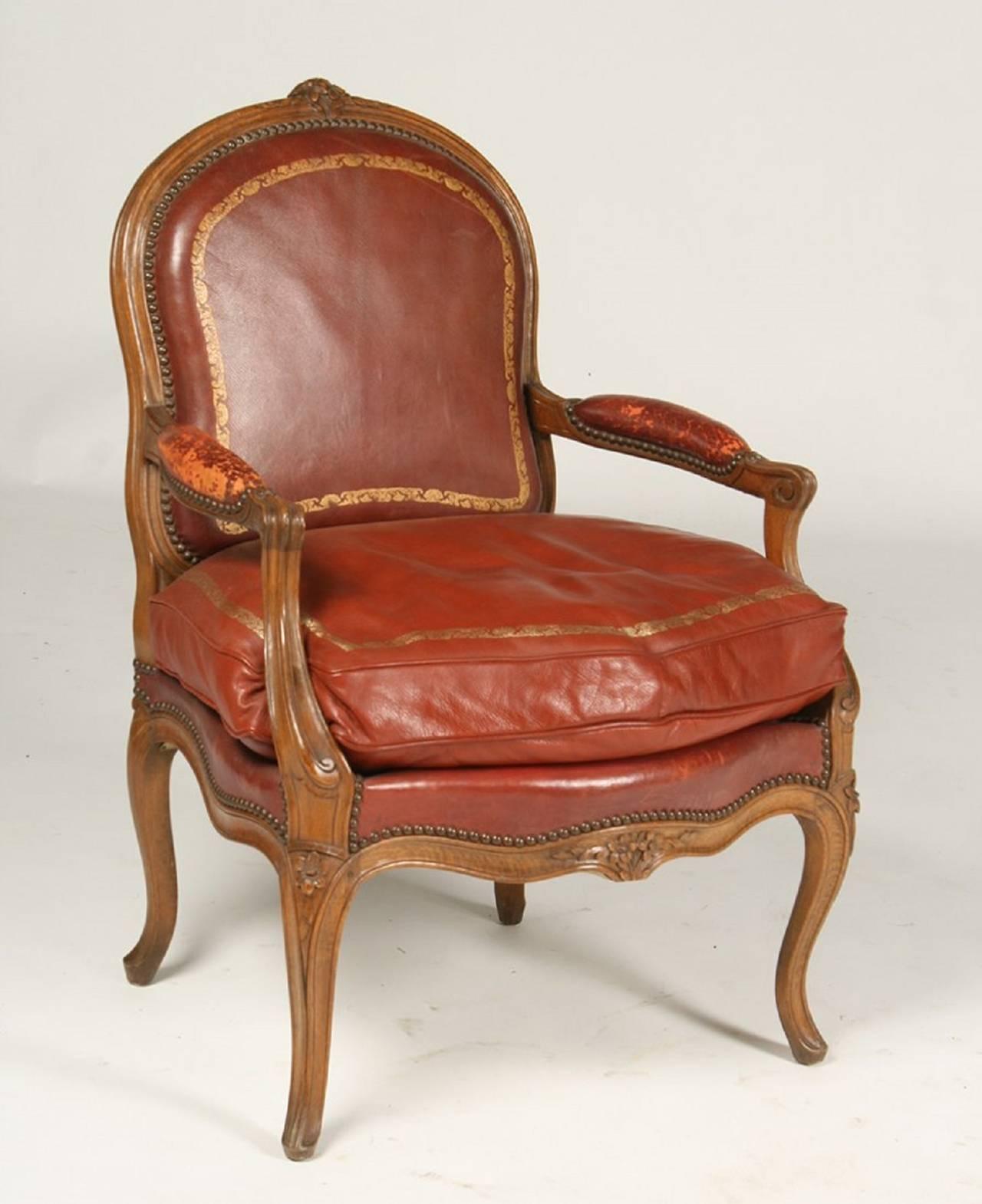 Pair of Louis XV Style Walnut Arm Chairs by Gouffe Paris Circa
