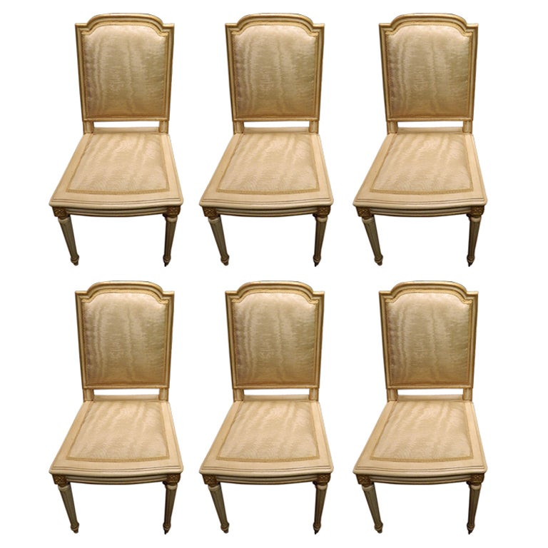 Set of Six Louis XVI Style Painted and Gilded Side Chairs, Early 20th Century