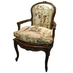 French Carved Walnut Fauteuil Chair, Circa 1840's