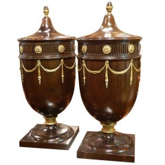 Pair of Mahogany Knife Urns, Early 20th Century