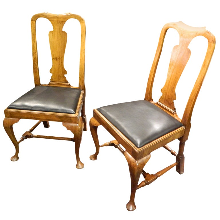 Pair of Queen Anne Style Walnut Side Chairs Yoked Crest, 19th Century
