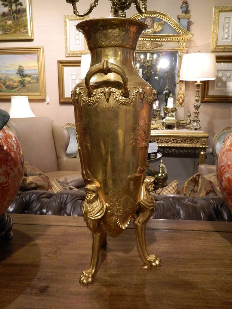 French 19th Century Neoclassical Bronze Dore Urn Signed F. Levillain For Sale