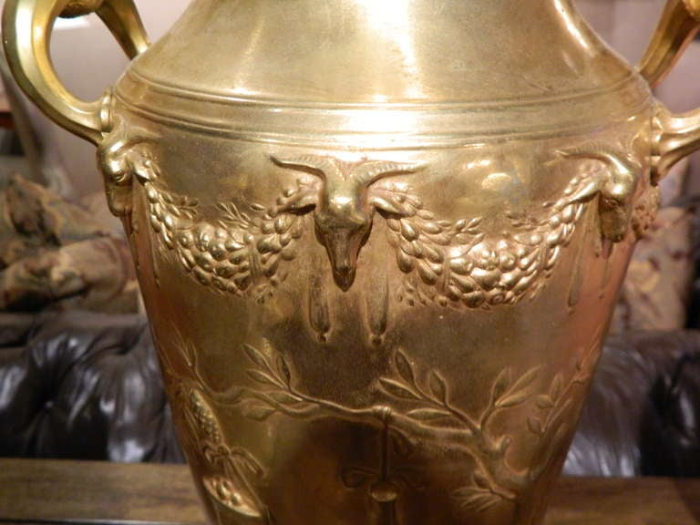 19th Century Neoclassical Bronze Dore Urn Signed F. Levillain For Sale 1