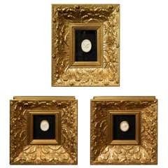 Set of Three Framed Plaster Intaglios, 20th Century